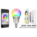 Mi-Light E14 RGB+Dual White 5 Watt Wi-Fi LED lampen. Complete set met Wifi Box en Remote!