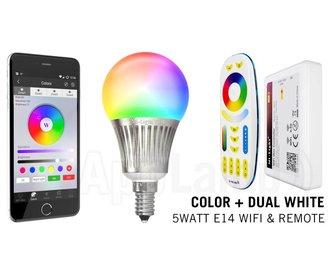 Mi-Light E14 RGBWW 5 Watt WifiSet met Afstandsbediening