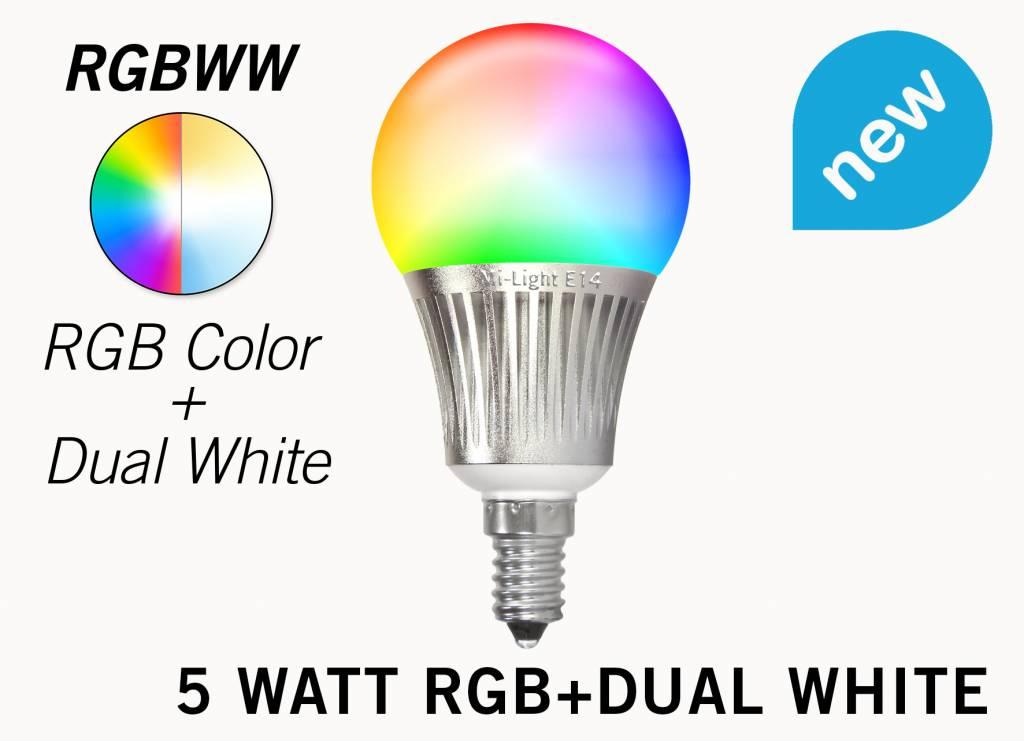 Mi·Light Set met 5W RGBWW Kleur + Dual White Mi-Light kleine fitting E14 LED lampen met Afstandsbediening