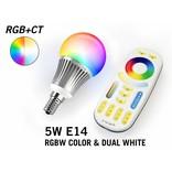 Set met 5W RGBWW Kleur + Dual White Mi-Light kleine fitting E14 LED lampen met Afstandsbediening