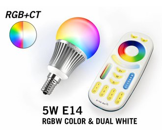 Mi·Light Set met RGBW + Dual White 5W  E14 LED lampen met Afstandsbediening