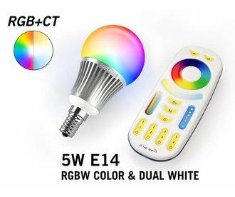 Set met RGBW + Dual White 5W  E14 LED lampen met Afstandsbediening