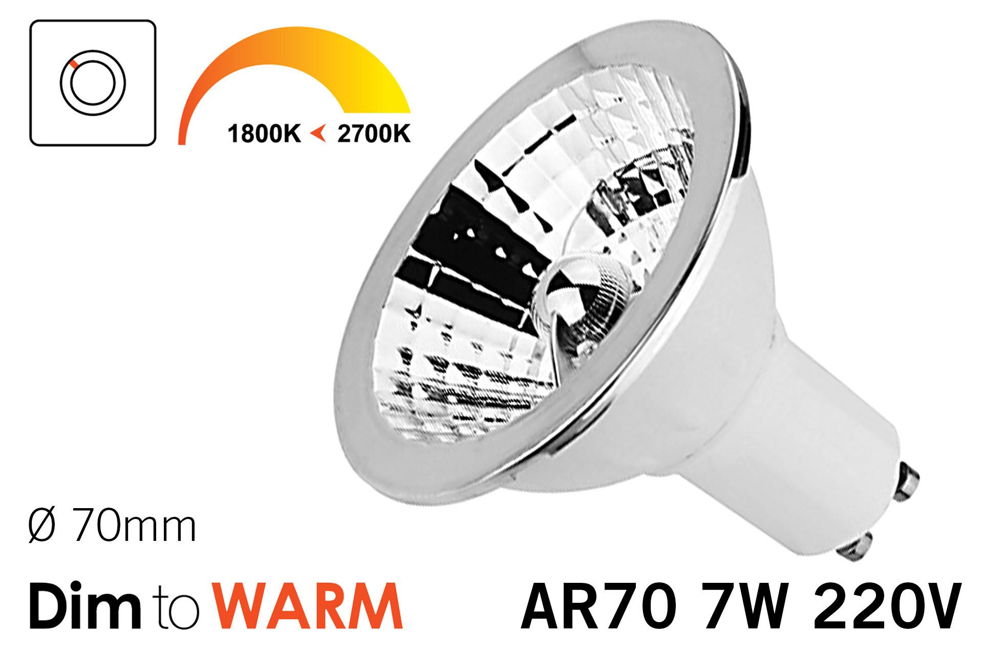 Dim2Warm  7W AR70 GU10 LED spot 2700K tot 1800K
