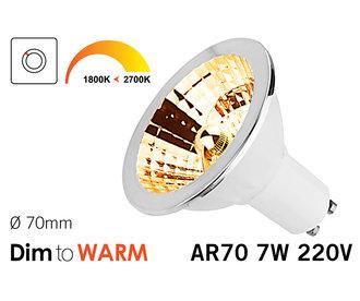 Dimbare 7W AR70 GU10 LED spot 2700K tot 1800K