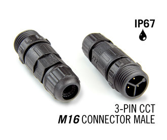 M16 driepolige IP67 Waterdichte Cable Connector Male