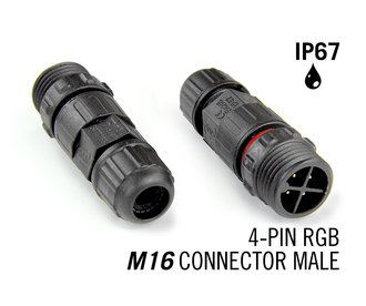 M16 vierpolige IP67 Waterdichte Cable Connector Male  RGB