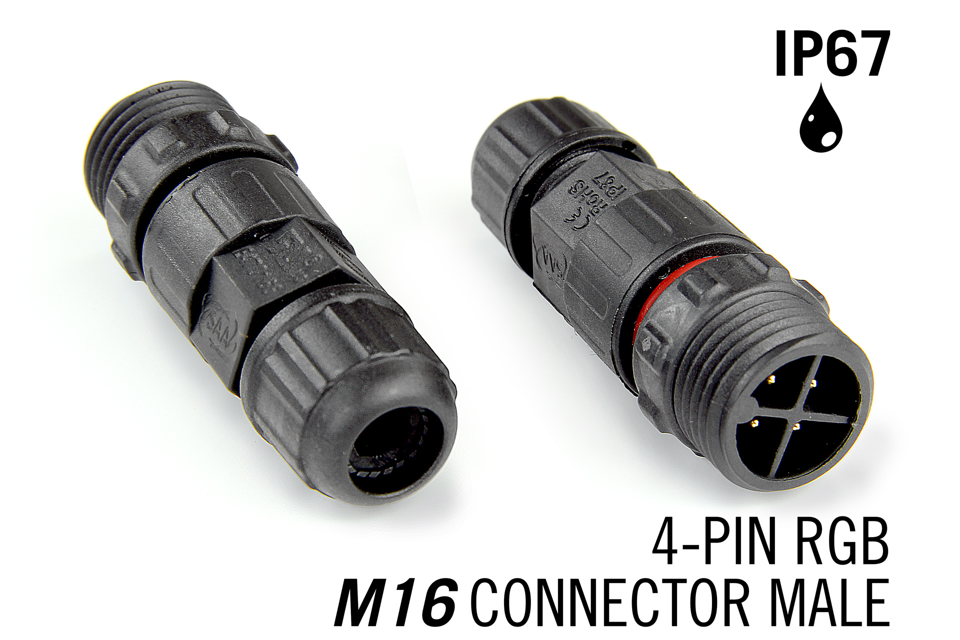 M16 4pin Male IP67 Waterdichte Cable Connector RGB