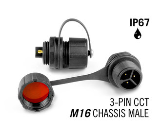 M16 3 Pin IP67 Waterdichte Male Chassis Connector CTT