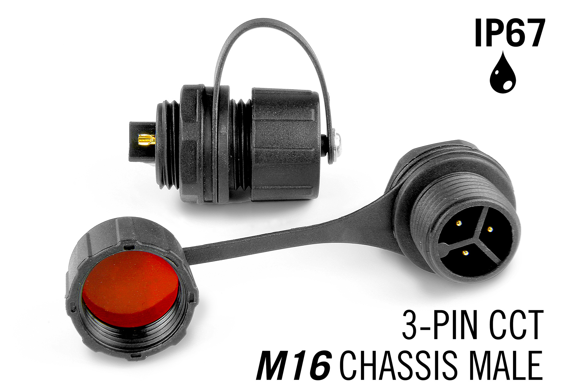 M16 3-polige IP67 Waterdichte Chassis Connector Male