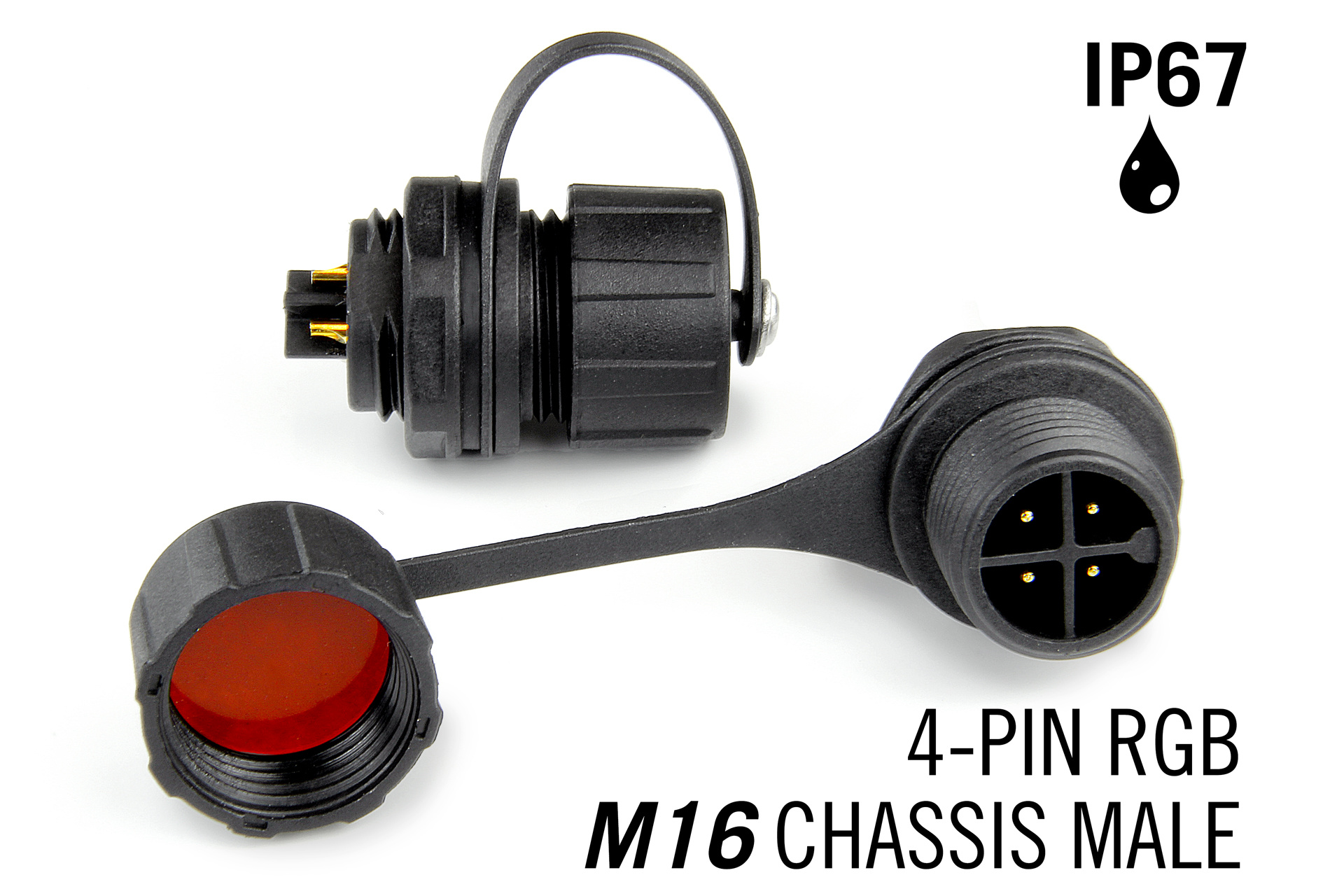 M16 4pin Male IP67 Waterdichte Chassis Connector RGB