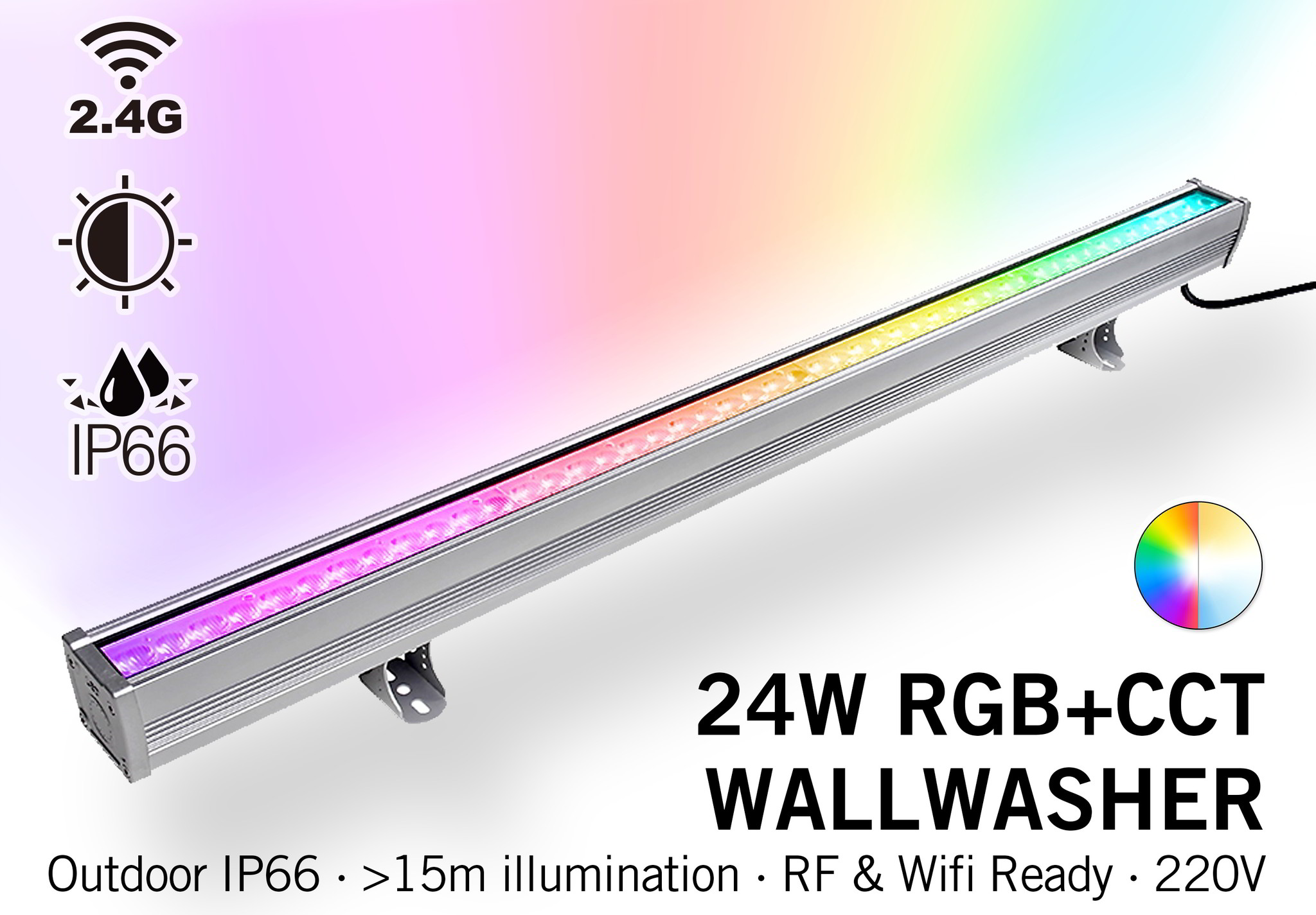 Milight Wall Washer RGB+Dual White - IP65 - 24Watt - 220Volt - 100CM