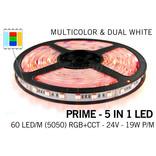 Mi·Light RGB & Dual White Prime 5 in 1 Led Strip | 12 of 24Volt  | 60 of 96 leds  per meter | 2.5m, 5.0m en 10 meter lengte