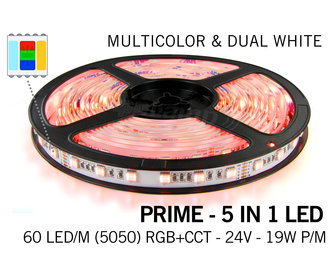 Mi·Light RGB & Dual White Prime 5 in 1 Led Strip | 12 of 24Volt  | 60 of 96 leds  per meter | 2.5, 5 en 10 meter lengte