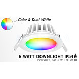Mi·Light LED Inbouwspot Mi-Light 6W RGBWW Kleur + Dual White IP54 Waterdicht 220V. Satijn Wit ⌀110mm