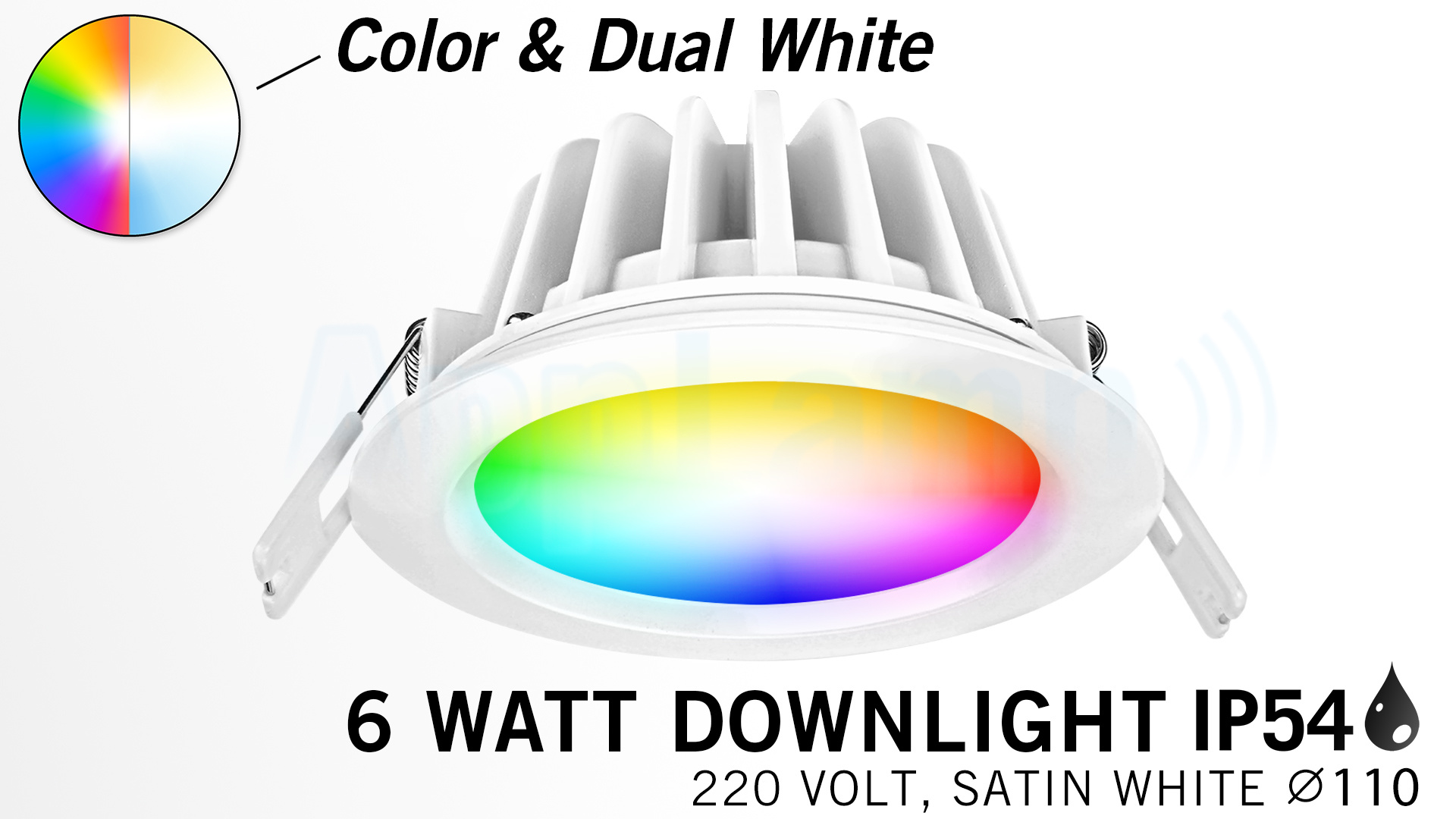 Mi·Light Mi-Light 6W RGBWW Kleur + Dual White LED Inbouwspot Waterdicht IP54