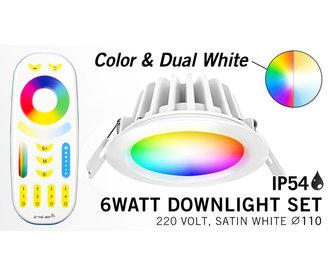 Mi-Light Set 6W waterdichte spot RGBWW Kleur + Dual White LED Inbouwspot 220V + RF Afstandbediening.  IP65  Ø108mm