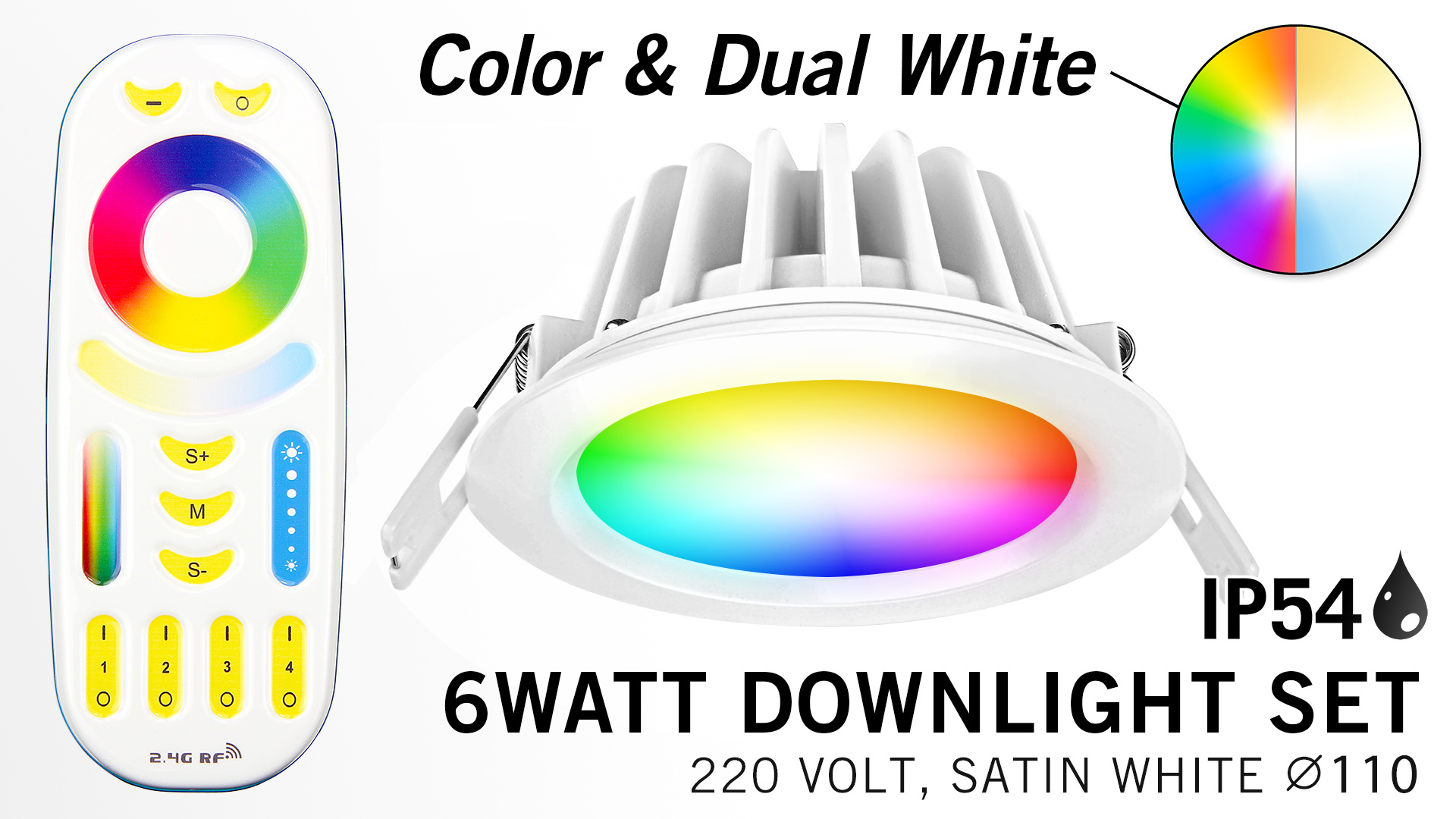 Mi-Light Set 6W waterdichte spot RGBWW Kleur + Dual White LED Inbouwspot 220V + Afstandbediening.  IP65  Ø108mm