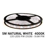 Neutraal Witte LED strip 120 leds p.m. - 5M - type 3528 - 12V - 9,6 W p.m.