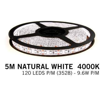 Neutraal Wit  Led Strip | 5m 120 Leds pm Type 3528 12V Losse Strip