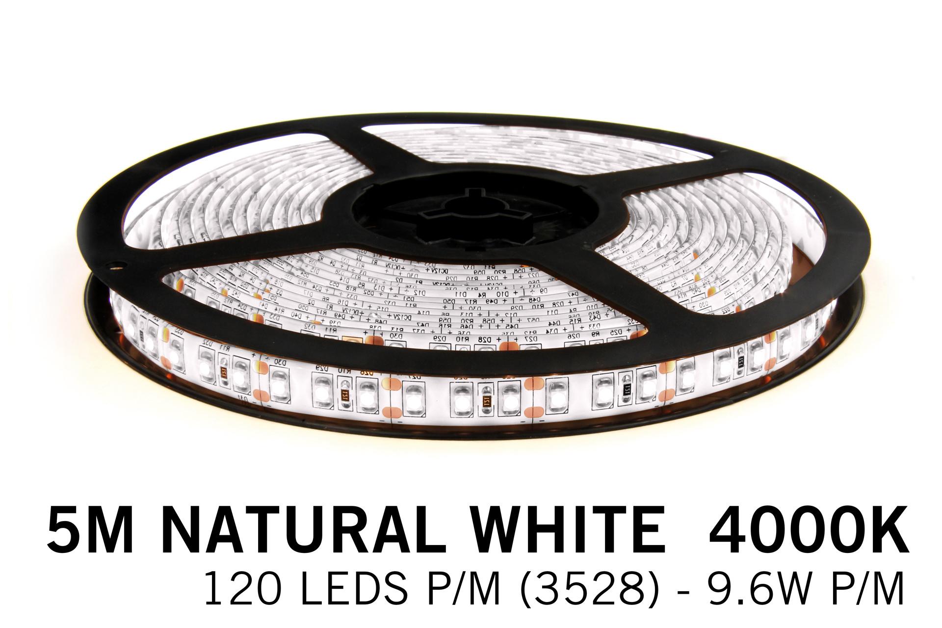 Neutraal Witte LED strip 120 leds p.m. - 5M - type 2835 - 12V - 9,6 W p.m.