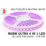 RGBW ULTRA LED strip 60 - 84 LED/m, 4 IN 1 LED,  24Volt, RGB kleur + Neutraal Wit