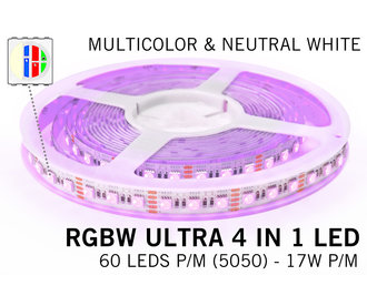 RGBW ULTRA LED strip 60 - 84 LED/m, 4 IN 1 LED,  24Volt, RGB kleur + Neutraal Wit