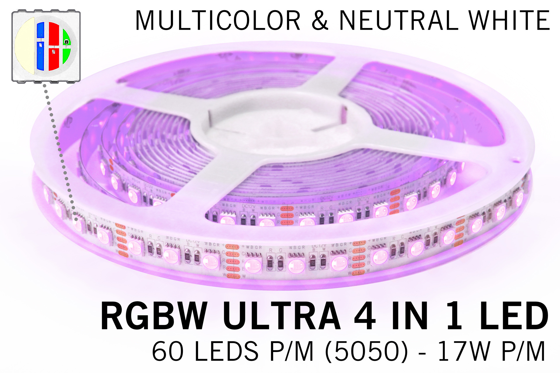 RGBW+Neutraal Wit strip | 60-84 LED p.m. | 2,5m-5m | 12V-24V
