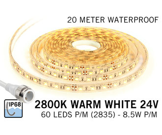 Warm Wit IP68 Waterdicht Led Strip | 20m 60 Leds pm Type 5050 Losse Strip