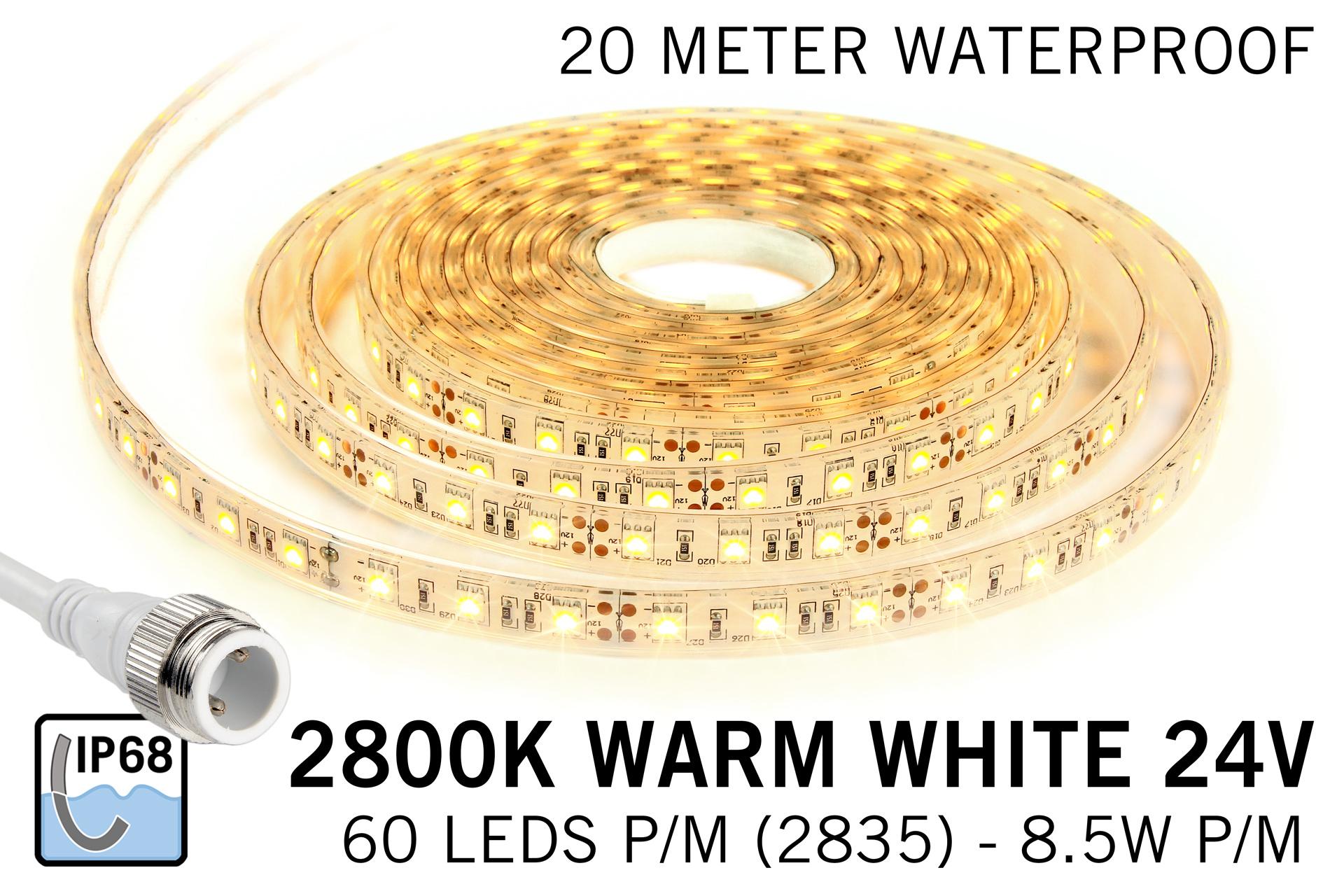 Waterdichte Warm Witte LED strip (IP68) 60 Led's per meter 24Volt, 20 meter lengte