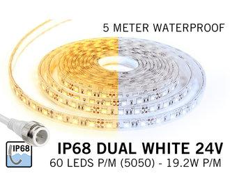 Waterdichte Dual White CCT LED strip (IP68) met 60 LED's/pm 24V,  5 meter