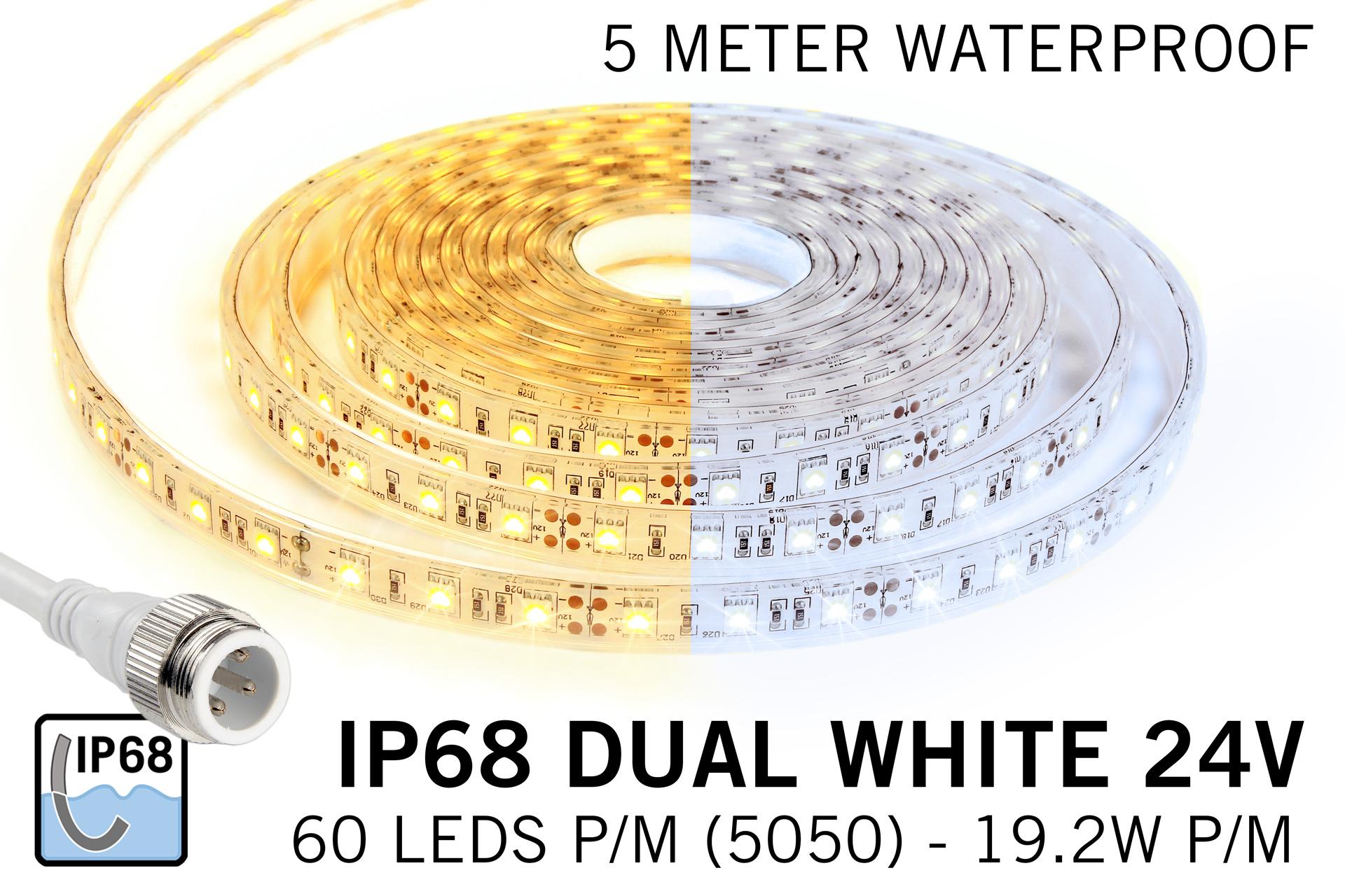 Dual White IP68 Waterdicht Led Strip | 5m 60 Leds pm Type 5050 24V Losse Strip