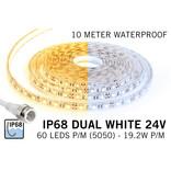 Waterdichte Dual White CCT LED strip (IP68) met 60 LED's/pm 24V,  10 meter