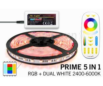 Mi·Light PRIME Ledstrip RGB Color+Dual White 60 LED/m, 5 IN 1. Complete set met RF Afstandsbediening