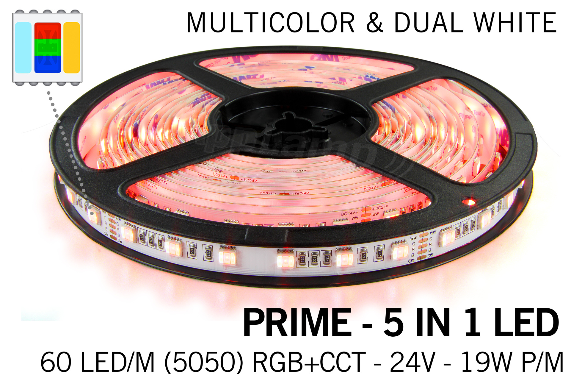 Mi·Light PRIME Ledstrip RGB Color+Dual White 60 LED/m, 5 IN 1. Complete set met RF Afstandsbediening