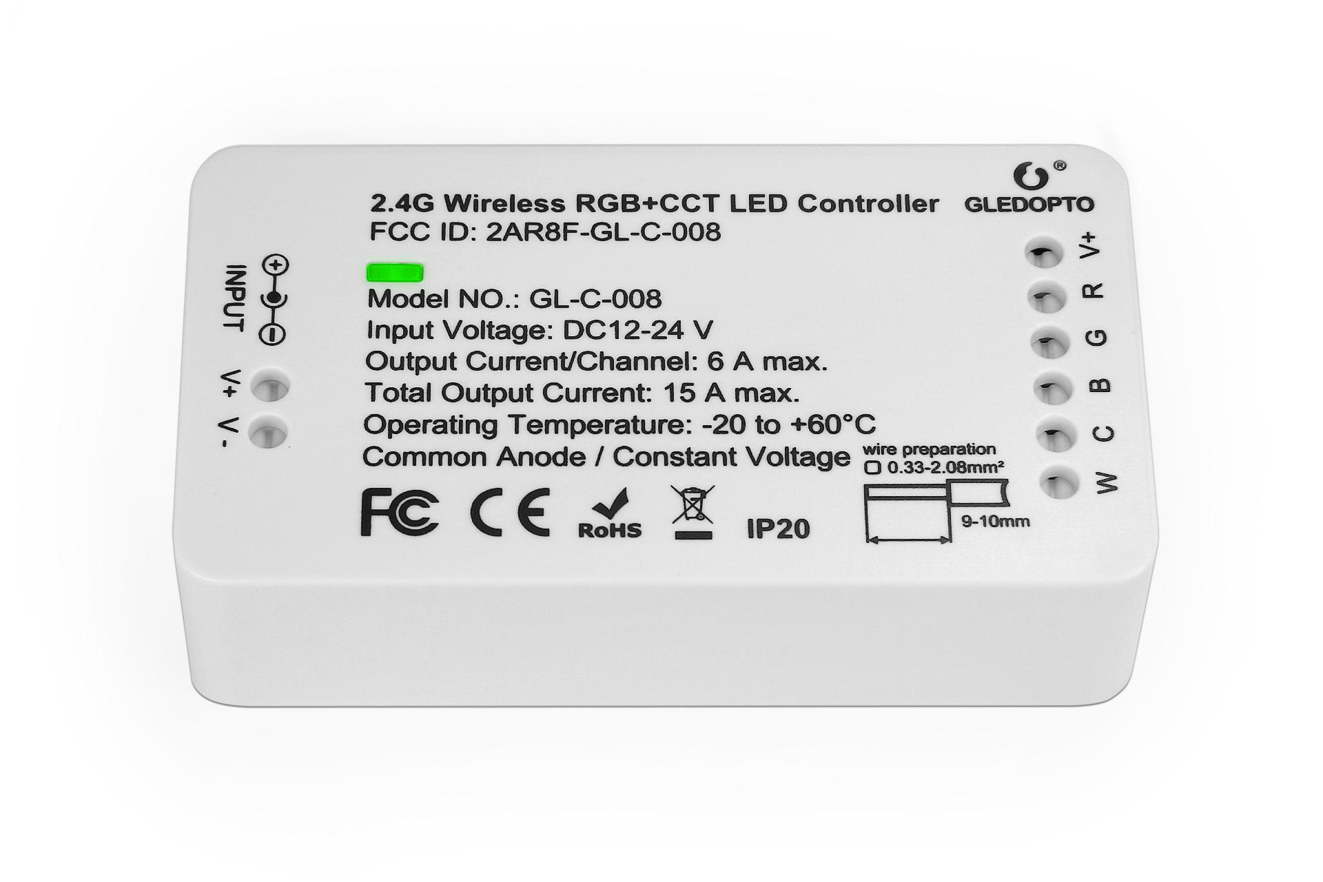 RGBWW  / RGBCCT Gledopto Zigbee Controller GL-C-008 | 12-24V 15A