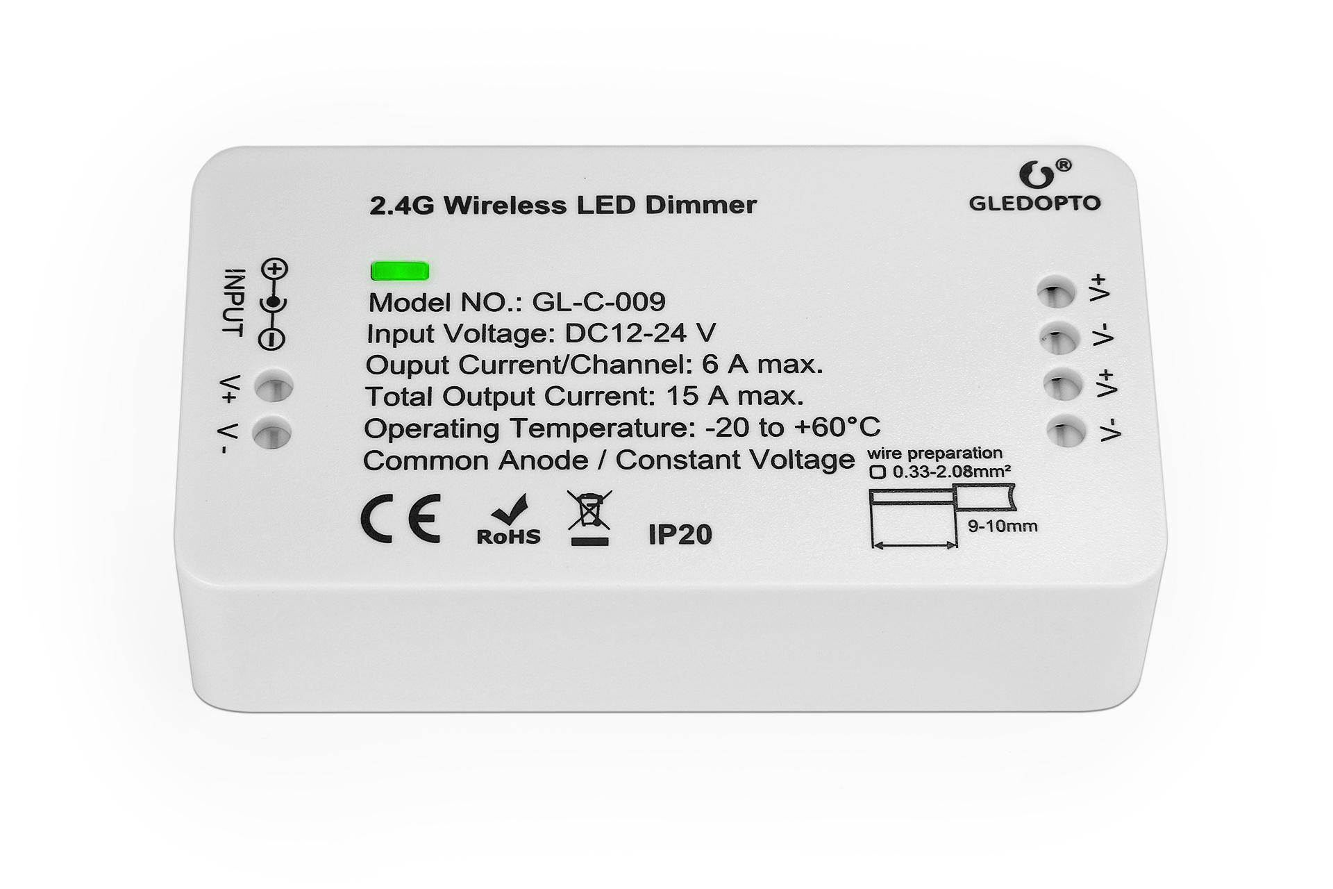 Enkelkleurige Gledopto Zigbee Dimmer Controller GL-C-009 | 12-24 Volt 15 Ampère