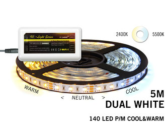 Mi·Light Dual White Led Strip | 120 Leds pm Type 2835 14,4W pm uitbreidingset