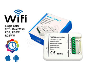 LED Magical Wi-Fi Controller voor RGB, RGBW, RGBWW, CCT en single color strips met tijdklok timers!