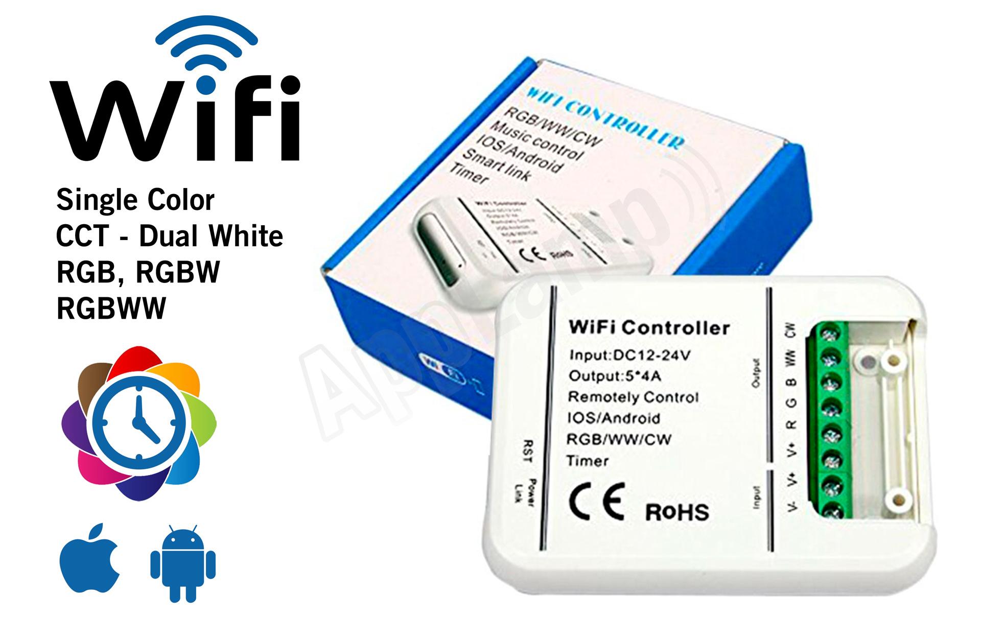 LED Magical Wifi Controller met tijdklok timers | Geschikt voor alle type led strips | 12-24 Volt 5x4 Ampère