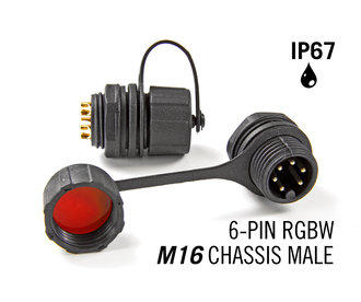 M16 6 Pin IP67 Waterdichte Male Chassis Connector RGBWW / RGBCCT