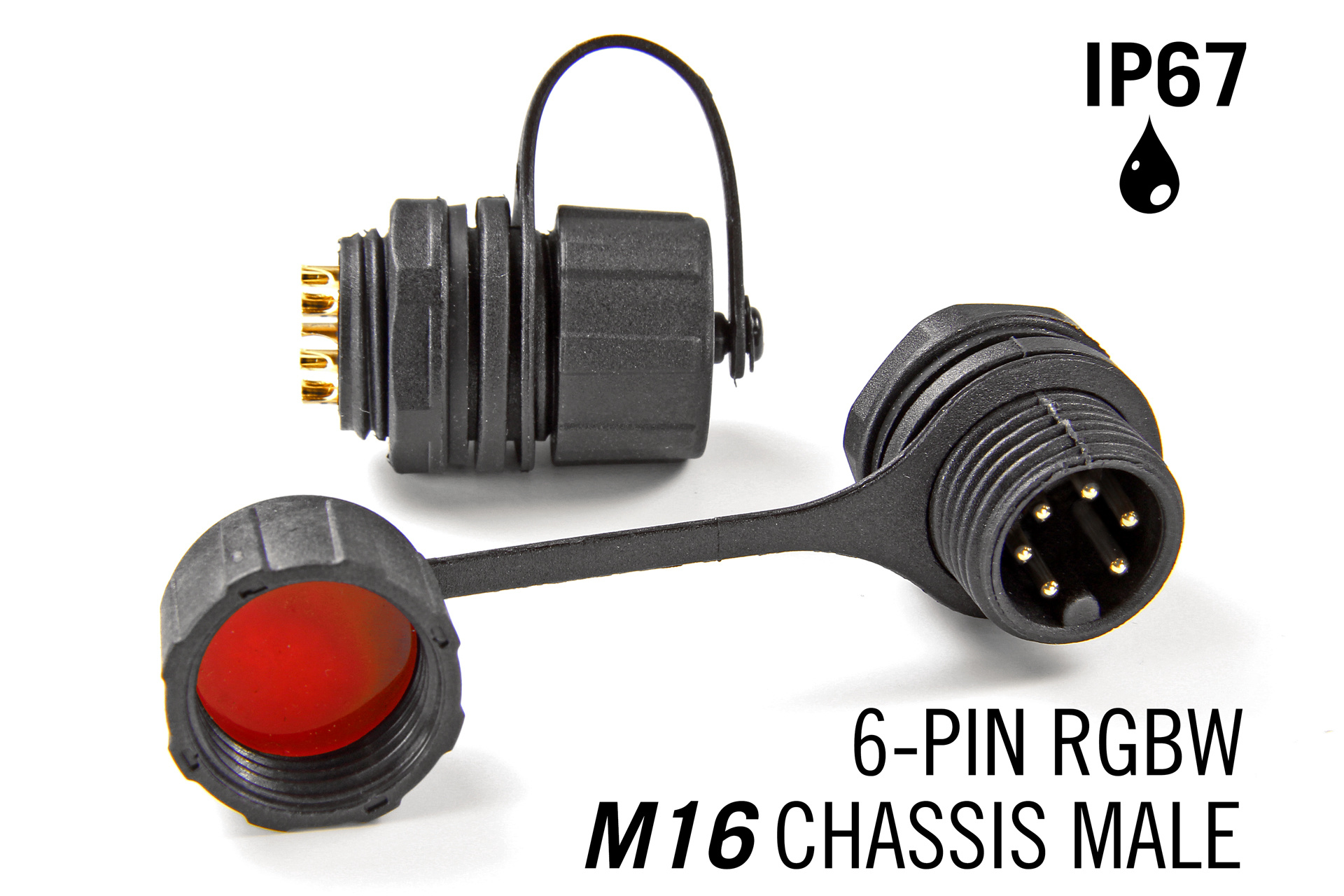 M16 6 Pin Male Chassis Connector IP67 Waterdichte RGBWW / RGBCCT