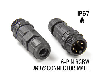 M16 6 Pin IP67 Waterdichte Male Connector RGBWW / RGBCCT