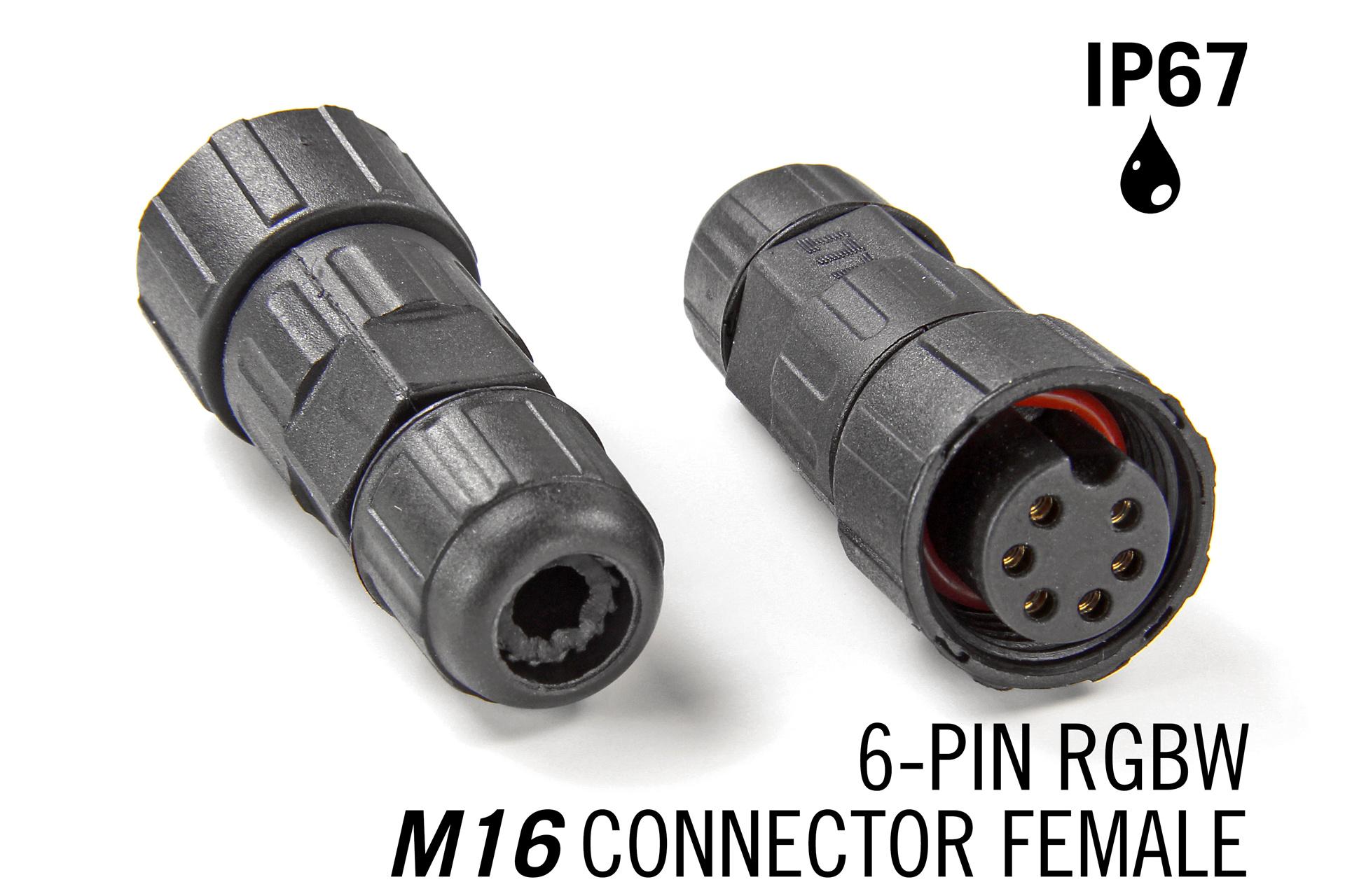 M16 6 Pin Female Connector IP67 Waterdichte RGBWW / RGBCCT
