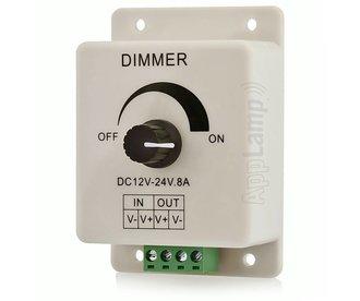 Opbouw LED Lijndimmer met Draaiknop | 12-24 Volt 8 Ampère
