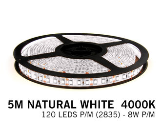 Neutraal Wit  Led Strip | 5m 120 Leds pm Type 2835 12V Losse Strip