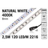 AppLamp ProLine PRO LINE 4000K Neutraal Wit Led Strip | 2,5m 120 Leds pm Type 2216 24V Losse Strip