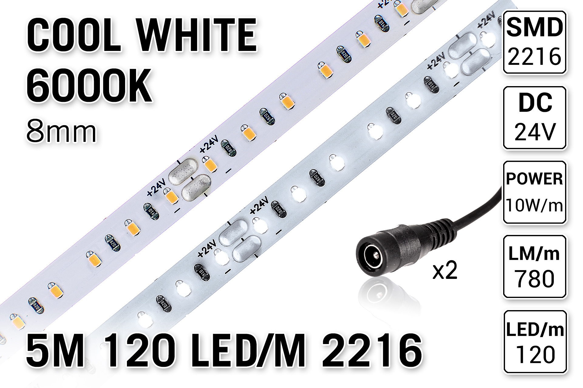 AppLamp ProLine PRO LINE 6000K Koud Wit Led Strip | 5m 120 Leds pm Type 2216 24V Losse Strip