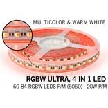 B-STOCK AANBIEDING  / 5m RGB & Warm Wit Ultra 4 in 1 Led 60Leds pm 12V