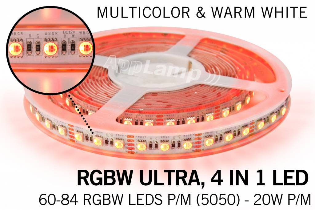 B-STOCK AANBIEDING - 5m RGB & Warm Wit Ultra 4 in 1 Led 60Leds pm 12V