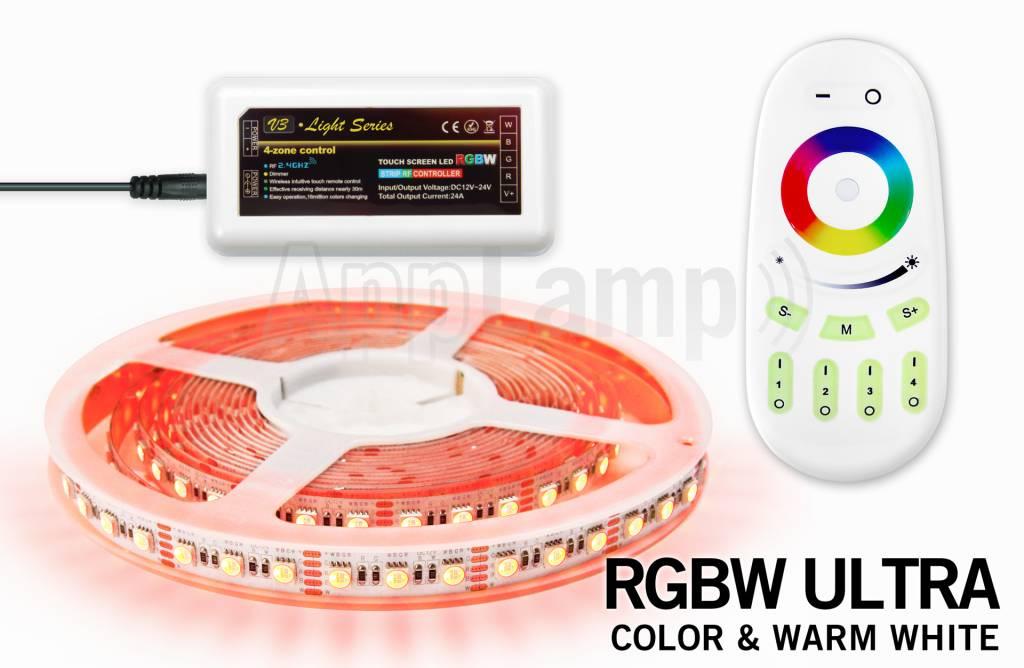 Mi·Light RGBW ULTRA LED strip met kleur + warm wit, 4 in 1 LED. RF Afstandsbedienig